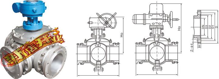 上装式蜗轮三通球阀q45f q75f-16c-dn50对夹式三通球阀图片