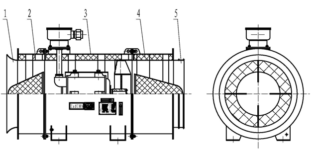 a) 海拔不超过1000m; b) 工作温度:-15~+40; c) 相对湿度:不大于90RH(+25时); d) 无强烈振动和腐蚀性气体等; e) 安装在无瓦斯气体爆炸性危险的煤矿井的进风巷道中,与正压风筒配套使用。 1.5.安全性 1.5.1.通风机的配套电机为YBF2系列风机用隔爆型三相异步电动机,防爆型式为:隔爆型,防爆标志为:ExdI Mb。 1.