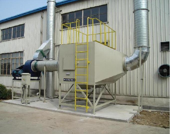 废气处理塔采用五重废气吸附过滤净化系统