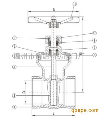 z15w不锈钢内螺纹闸阀结构尺寸和示意图