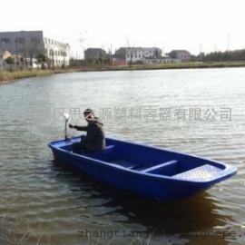 厂家供应3米滚塑一次成型黄色漂流塑料渔船