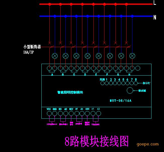 接线规格 l 本模块继电器开关输出端连接线:2.