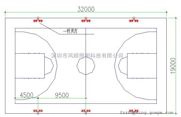 室外篮球场灯光布置方案