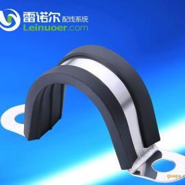 U型橡胶减震管夹,半圆紧固夹,304不锈钢喉箍