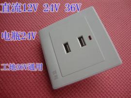 直流2孔24VUSB插座面板两位二口安全电压