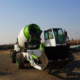 1.6方自上料搅拌车 铲车式铲斗搅拌车 多功能混凝土搅拌车