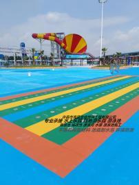 水上乐园地面刷漆 漂流河刷漆工程 漂流河彩色地坪