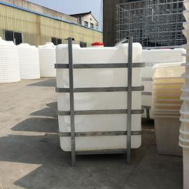 华社方形塑料桶耐酸碱化工运输桶抗氧化带框架大水桶产地现货1500