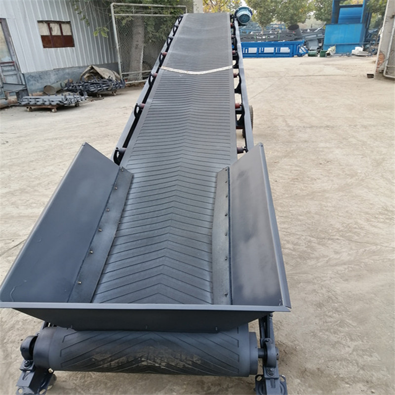 六九重工水平送料防滑带输送机Lj8带挡板的皮带机 电动升降运输机dy800