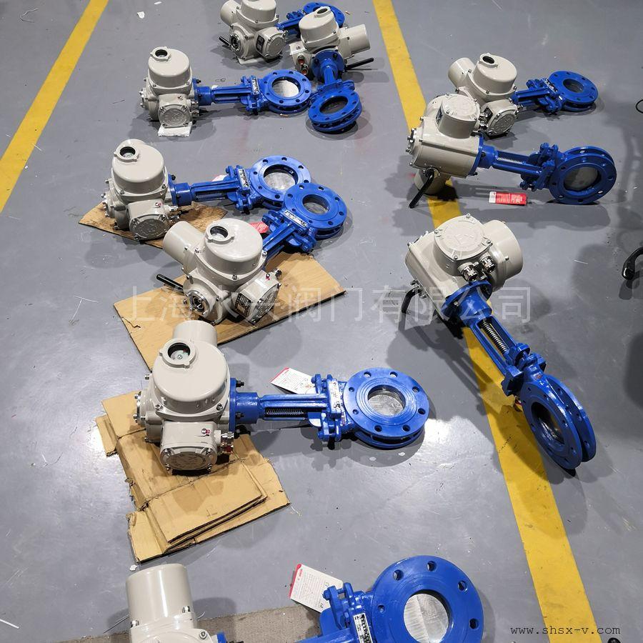 水兴阀门PZ973H-10C-DN100硬密封电动刀型闸阀 电动浆液阀 硬密封耐磨PZ973HXFW-6/10/16C/P等
