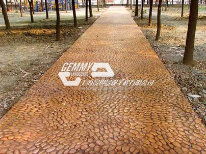 鹅卵石艺术地坪/彩色混凝土压印地坪/公园仿真鹅卵石地面